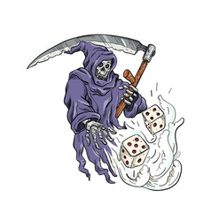 grim reaper throwing dice drawing color vector image