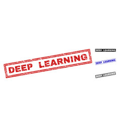 Grunge deep learning textured rectangle stamp vector