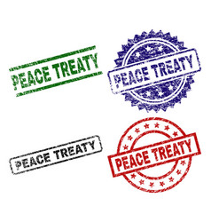 Grunge textured peace treaty seal stamps vector