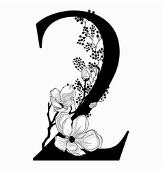 Hand drawn floral number two monogram and vector