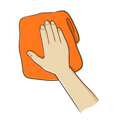 Hand holding a towel vector