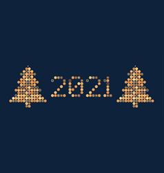 happy new year 2021 circle pixel art typography vector image