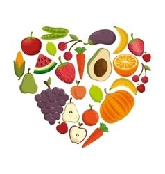 healthy food concept heart shape icon vector image
