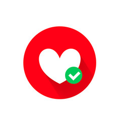 heart and green tick icon vector image