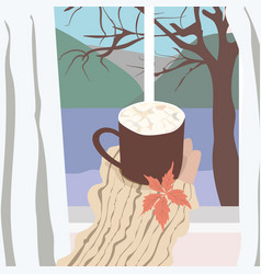 Hygge happy person with coffee vector
