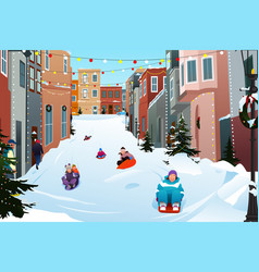 Kids sledding on a snowy street during winter vector
