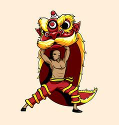 Lion dance barongsai vector