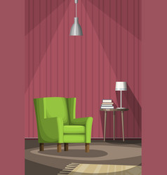 Living room with armchair and table vector