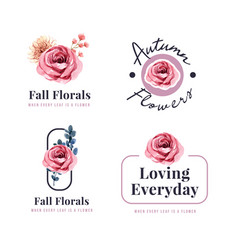 logo design with autumn flower concept for brand vector image