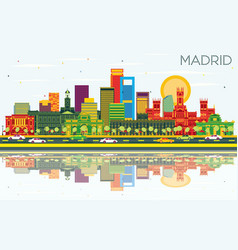 Madrid spain city skyline with color buildings vector
