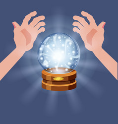 Magic crystal ball fortune open hands mistery vector