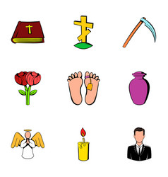 memorial icons set cartoon style vector image