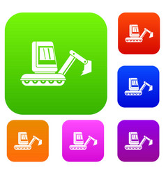 Mini excavator set color collection vector