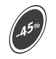 Minus 45 percent sale black icon isometric style vector