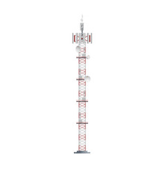 Mobile telecommunication tower with antennas vector