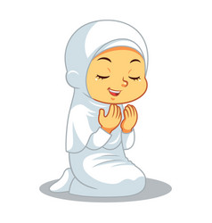 Moslem girl hajj praying vector