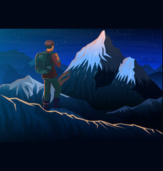 Mountain everest with tourist night panoramic vector