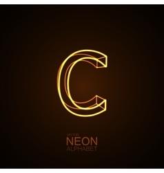 Neon 3D letter C vector image