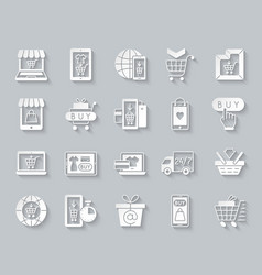 online shop simple paper cut icons set vector image