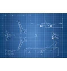 Outline drawing plane on a blue background vector