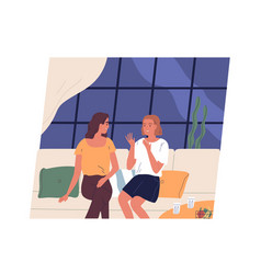 pair happy young girls sitting on couch and vector image