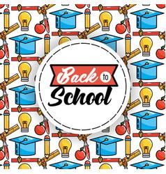 pencil with graduation cap and bulb idea vector image