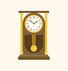 Pendulum wooden retro clock vector