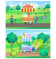 Popcorn and ice cream vans in green summer park vector