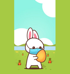 Rabbit holding egg wearing face mask to prevent vector