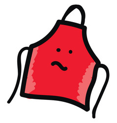 red apron on white background vector image
