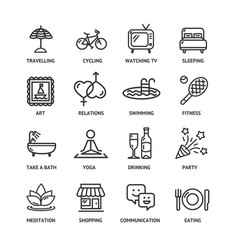 Relaxation rest time black thin line icon set vector