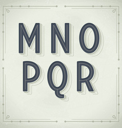 Retro font from m to r vintage typography vector