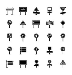 Road signs and junctions glyph icons colle vector