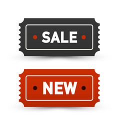 sale and new tickets - business labels set paper vector image