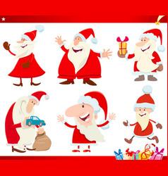 santa claus on christmas time cartoon set vector image