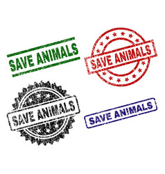 Scratched textured save animals seal stamps vector