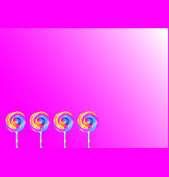 set colorful lollipops pink background vector image