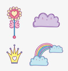 set kawaii cloud and rainbow with clouds and crown vector image