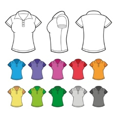 Set of Colorful Female Polo Shirts vector image