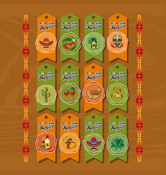 set of cute various mexican icons tags vector image