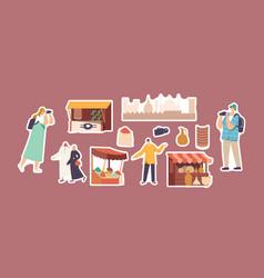 Set stickers arab market theme tourists vector