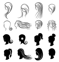 set women hairstyles for beauty concept vector image