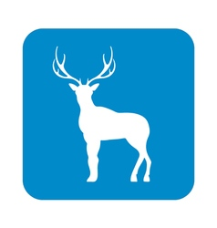Silhouette deer icon vector