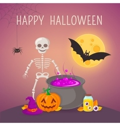 Skeleton and potion cauldron vector image