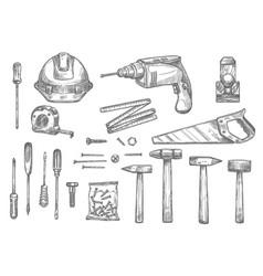 sketch icons of repair work tools vector image