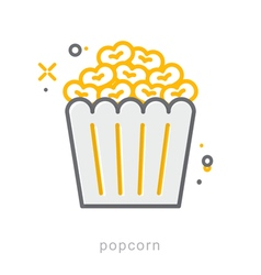 Thin line icons Popcorn vector
