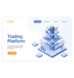 Trading platform isometric landing page template vector