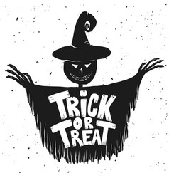 trick or treat scarecrow on white background vector image