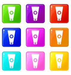 Tube with sunbathing cream icons 9 set vector