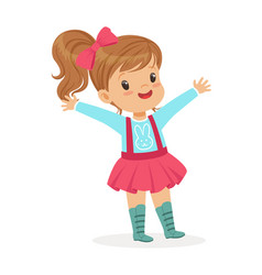 Ute smiling little girl dressed in a pink skirt vector
